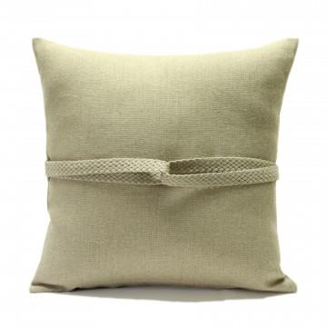 Federa per cuscino in lino con treccia embrasse