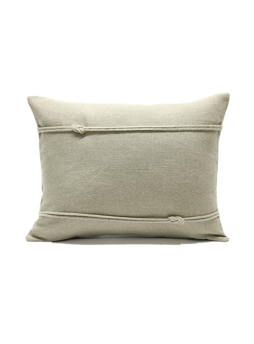 Linen pillow cover decorated with a double nautical knot