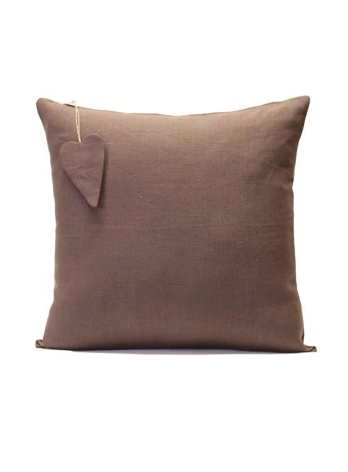 Federa per cuscino in lino con decorazione a cuoricino