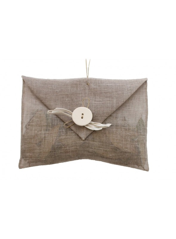 Linen scented sachets for wardrobe with a ceramic decoration