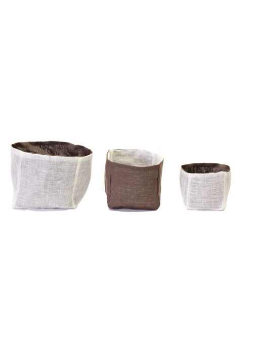 Set of 3 linen double face squared bins with linen gauze