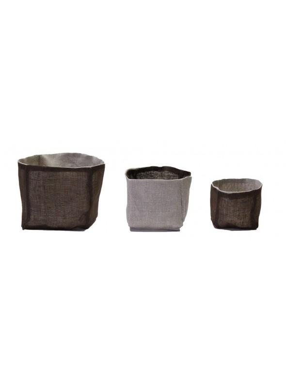 Set di 3 contenitori quadrati in lino e garza di lino double face
