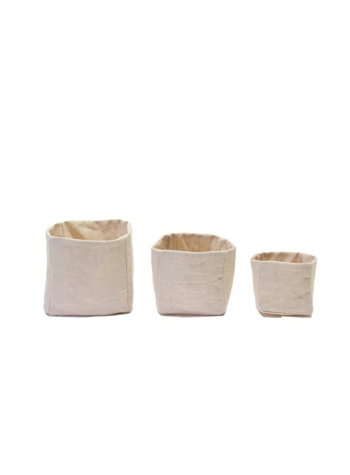 Set of 3 linen double face squared bins with stain-resistant linen decoration