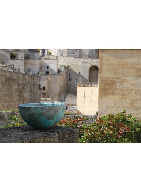 Light blue large decorative bowl - Ecomondi