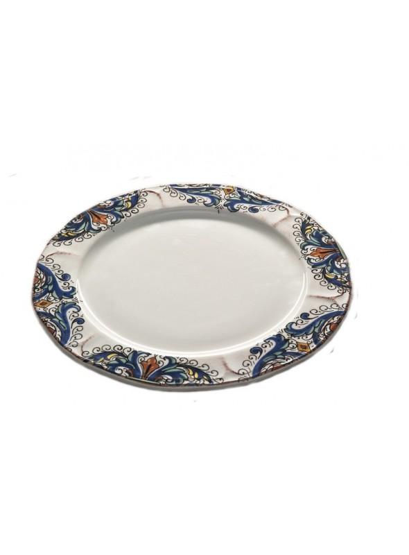 Piatto piano in ceramica in due diverse fantasie