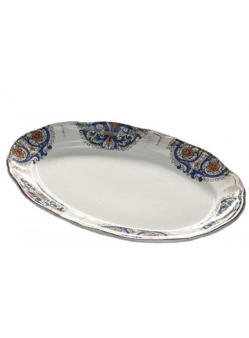 Piatto ovale in ceramica in tre diverse fantasie