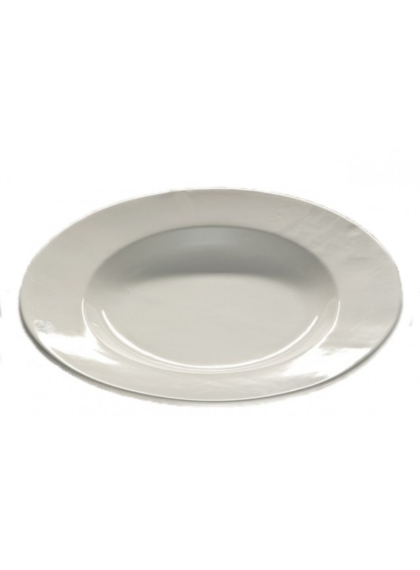 Modern rounded serving plate in ceramic