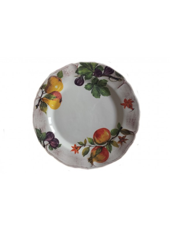 Rounded serving plate in ceramic