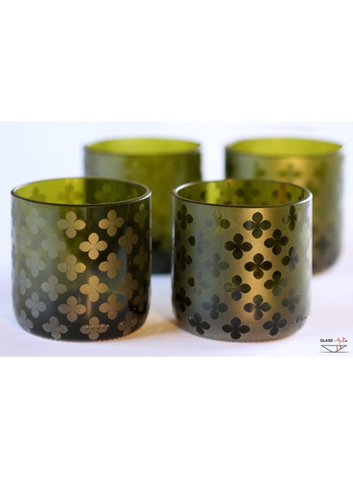 Hand-crafted tumbler glasses with a four-leaf clover pattern - Luck