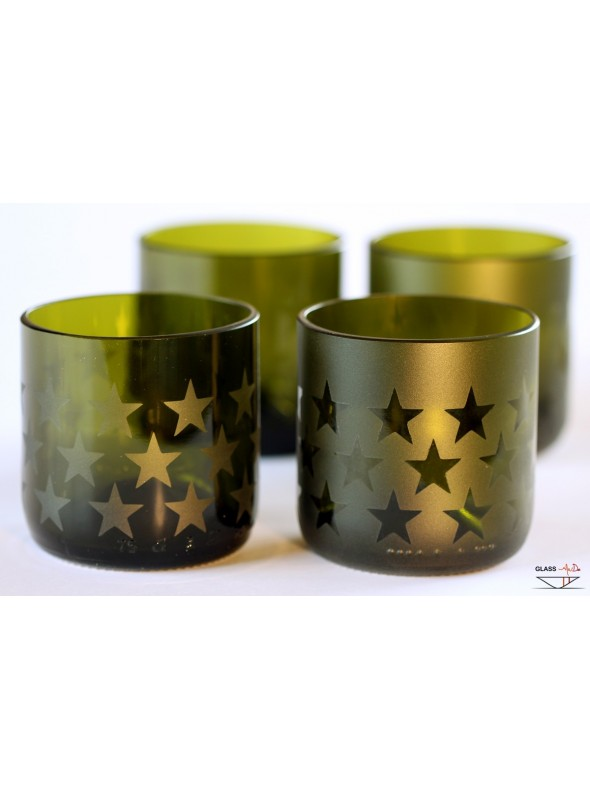 Hand-crafted tumbler glasses with a star pattern - Star