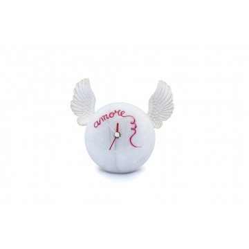 "Hand-decorated table clock - White wings ""Love"""