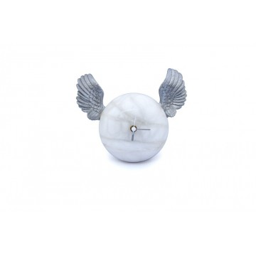 Hand-decorated table clock - Silver wings