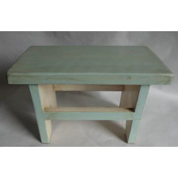 Sgabello in legno massello verde acqua