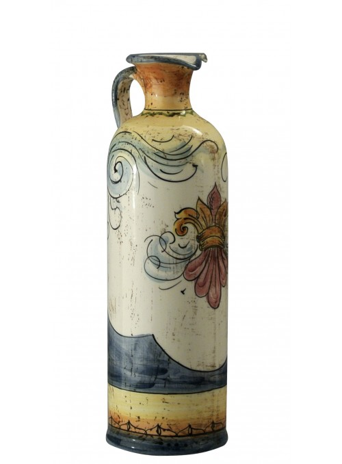 Small hand-decorated ceramic bottle