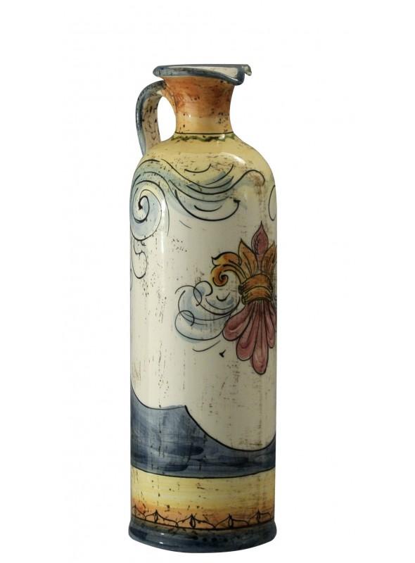 Bottiglietta di ceramica classica, cotta e decorata a mano