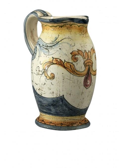 Caraffa piccola in ceramica cotta e decorata a mano