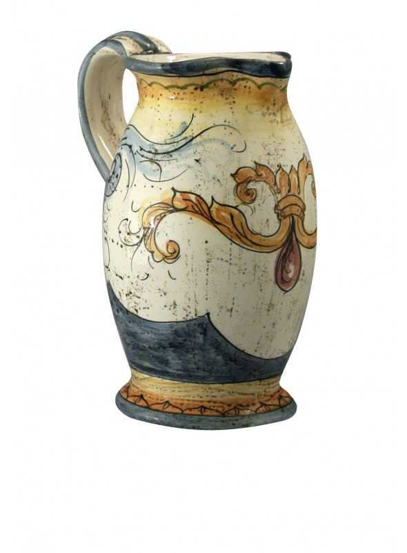 Caraffa piccola in ceramica cotta e decorata a mano