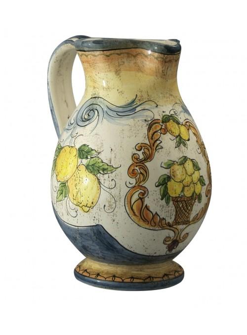 Caraffa grande in ceramica cotta e decorata a mano