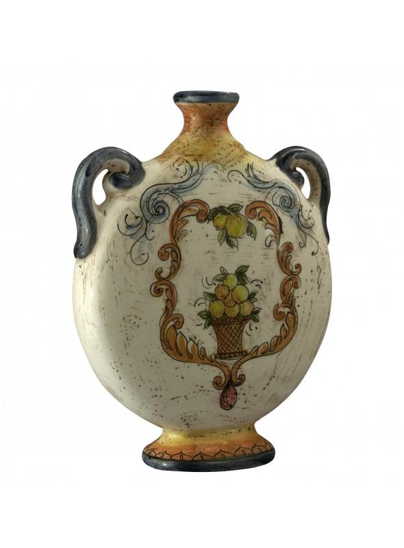 Bottiglia piatta piccola in ceramica cotta e decorata a mano