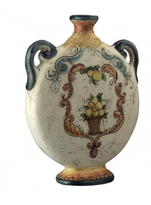 Bottiglia piatta grande in ceramica cotta e decorata a mano