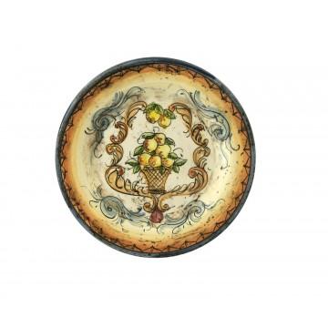 Piatto piccolo in ceramica cotta e decorata a mano