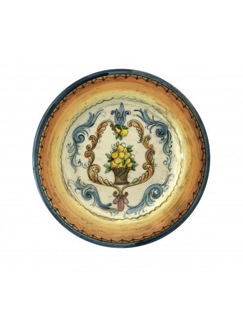 Piatto medio in ceramica cotta e decorata a mano
