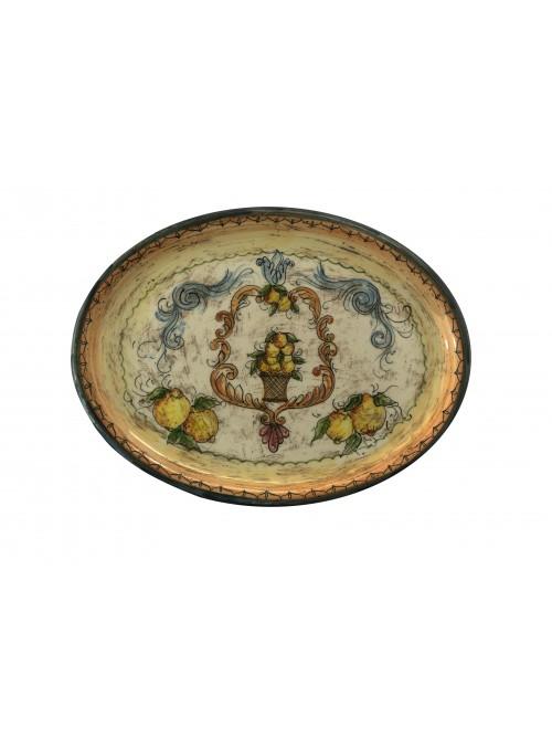Vassoio ovale in ceramica cotta e decorata a mano