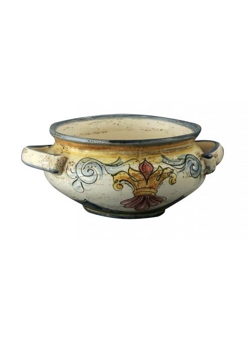 Ciotolina con manici in ceramica cotta e decorata a mano