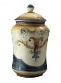 Albarello grande in ceramica cotta e decorata a mano
