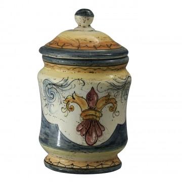 Albarello piccolo in ceramica cotta e decorata a mano