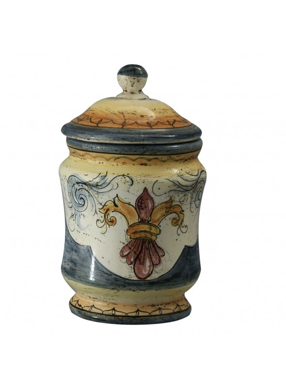 Hand-painted small albarello vase