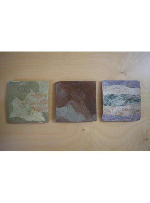 Hand-crafted decorative big squared plate - Geoquadri
