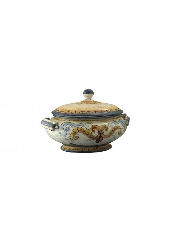 Zuppiera ovale in ceramica cotta e decorata a mano