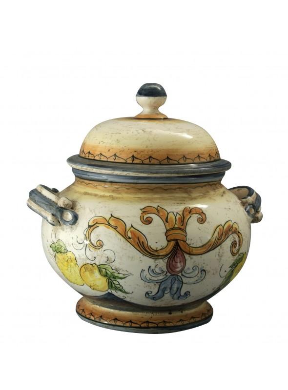Zuppiera tonda in ceramica cotta e decorata a mano