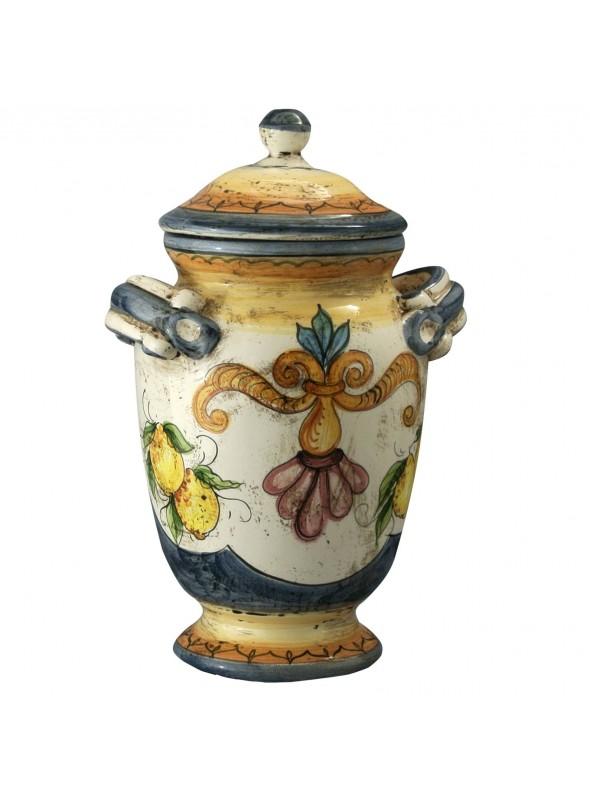 Barattolo con coperchio in ceramica cotta e decorata a mano