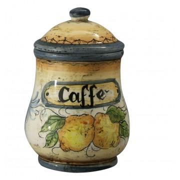 Barattolo da caffè in ceramica cotta e decorata a mano