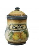 Barattolo da caffè in ceramica decorata a mano