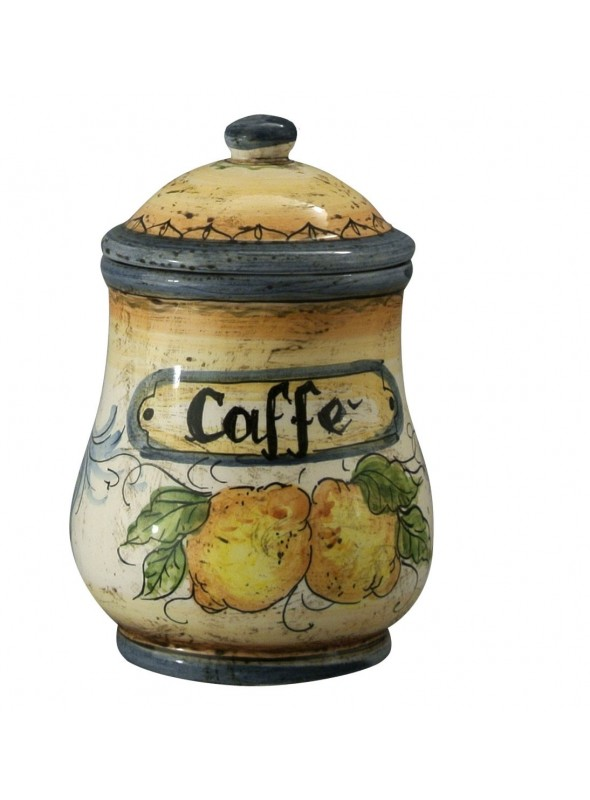 Hand-painted decorative ceramic coffee jar with lid