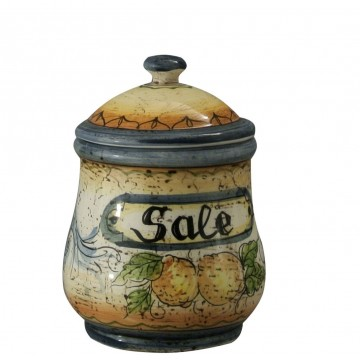 Barattolo per sale in ceramica cotta e decorata a mano