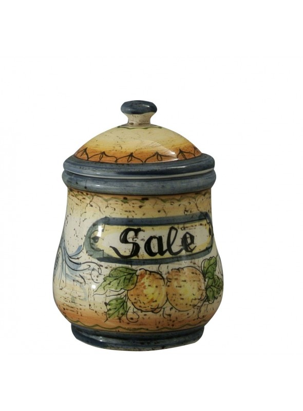 Hand-painted decorative ceramic salt jar with lid