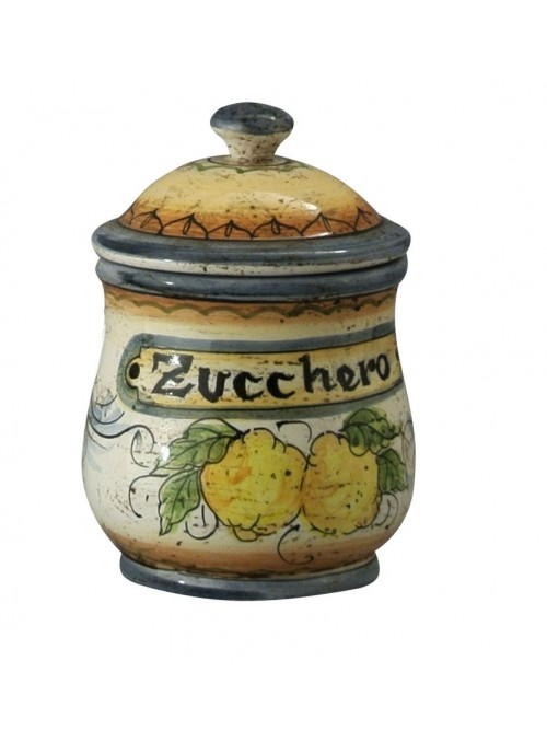 Hand-painted decorative ceramic sugar jar with lid