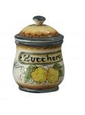 Barattolo per zucchero in ceramica decorata a mano