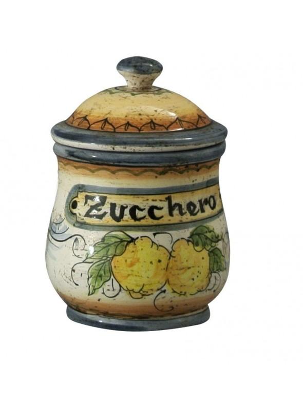 Barattolo per zucchero in ceramica cotta e decorata a mano