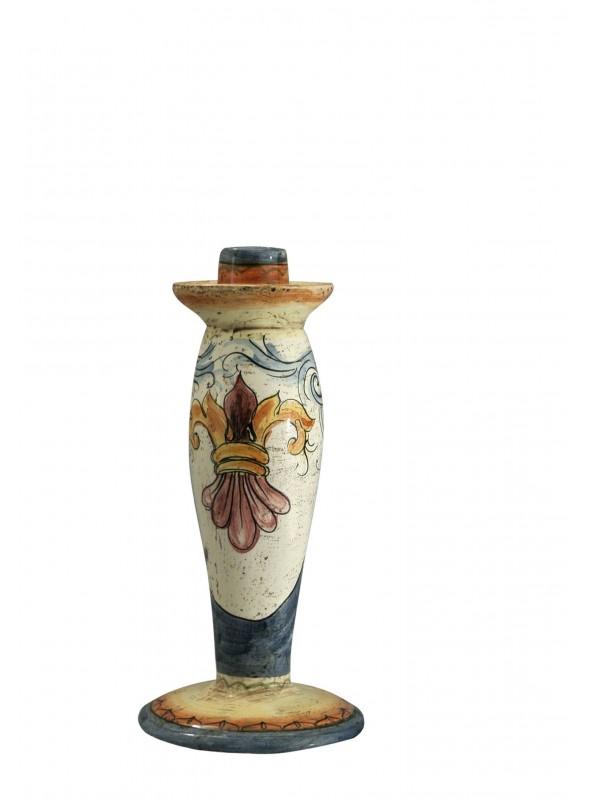 Candeliere grande in ceramica cotta e decorata a mano