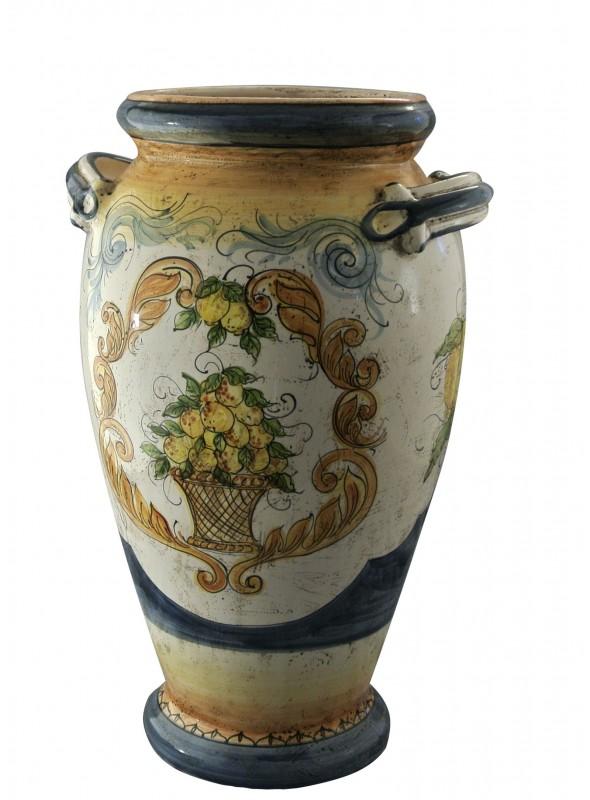 Portaombrelli in ceramica cotta e decorata a mano