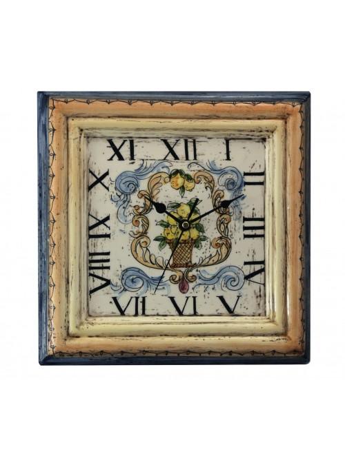 Orologio da muro in ceramica cotta e decorata a mano