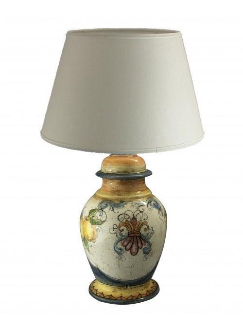 Lampada da tavolo grande in ceramica decorata a mano