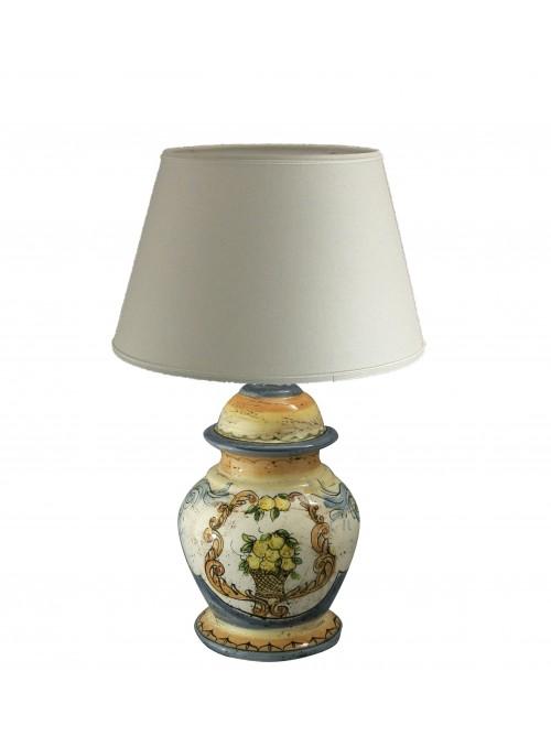 Lampada da tavolo piccola in ceramica decorata a mano