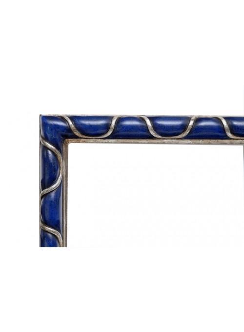 Cornice in legno Elica blu e argento