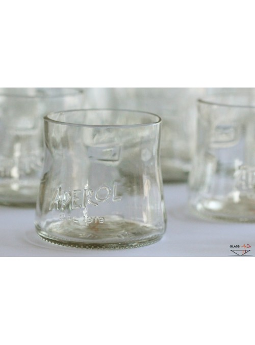 Hand-crafted tumbler glasses in recycled glass